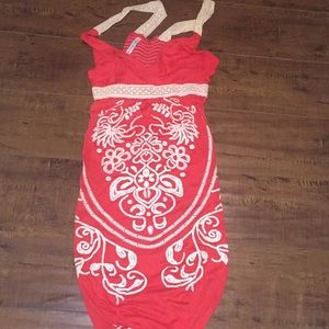 Dresses & Skirts - Pretty red beach dress with rich embroidery.